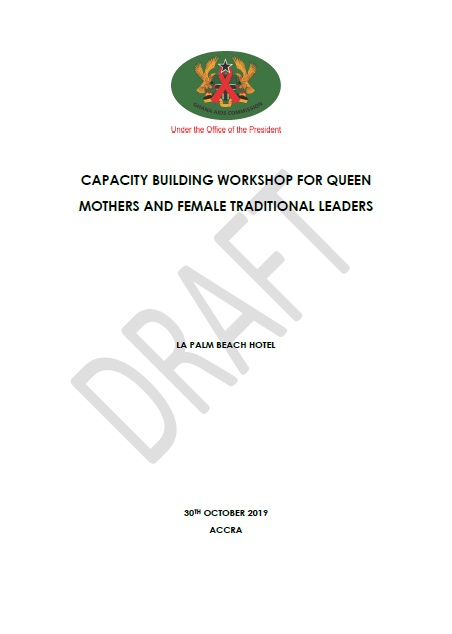 CAPACITY BUILDING WORKSHOP FOR QUEEN MOTHERS AND FEMALE TRADITIONAL LEADERS